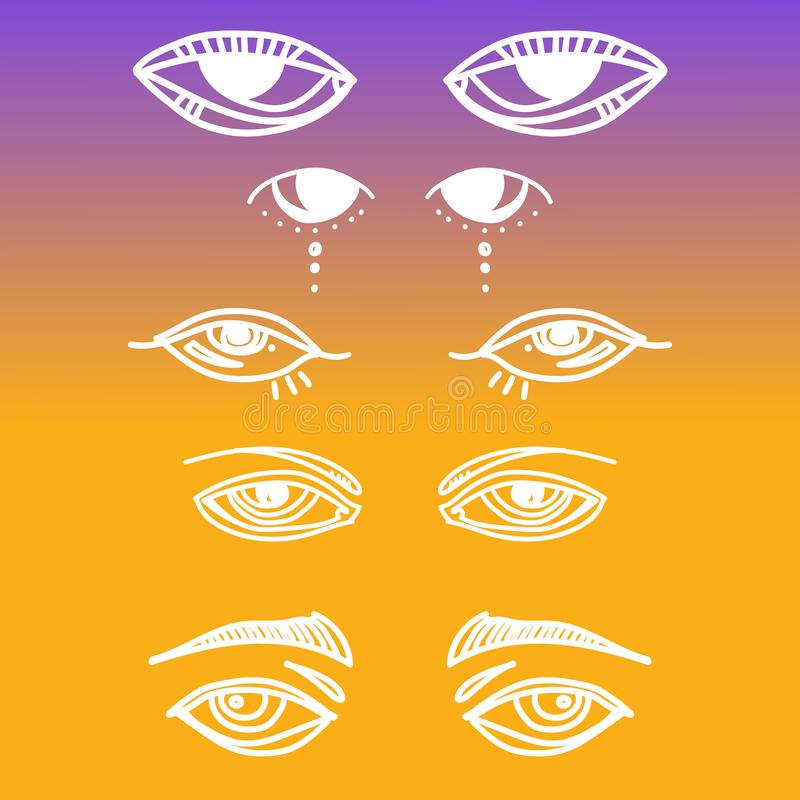 Augen und gesetzte Vektorsammlung der Augenikone Schauen Sie und Visionsikonen Lokalisierte Vektorillustration für Plakat, Tätowi vektor abbildung