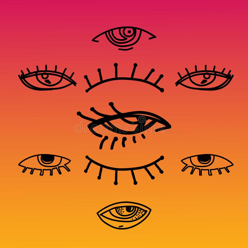 Augen und gesetzte Vektorsammlung der Augenikone Schauen Sie und Visionsikonen Lokalisierte Vektorillustration für Plakat, Tätowi lizenzfreie abbildung