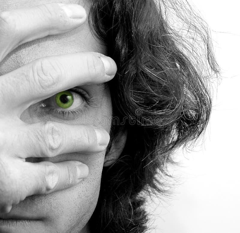 Augen und Hand lizenzfreie stockbilder