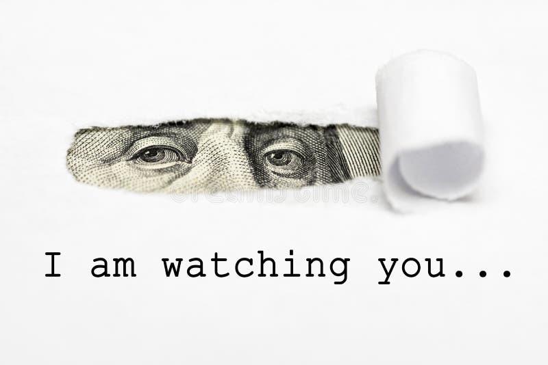Augen von Benjamin Franklin mit Text passe ich Sie auf! Großer Bruder passt Sie auf stock abbildung