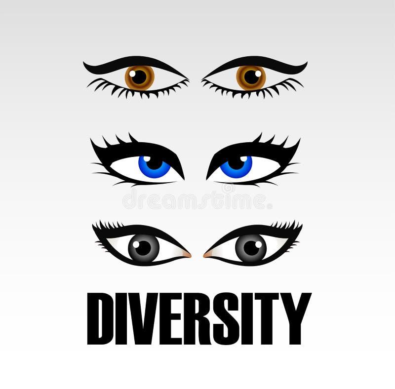 Augen von den Frauen, die Verschiedenartigkeit zeigen lizenzfreie abbildung