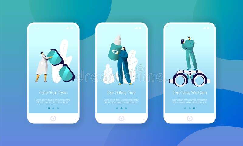 Augenarzt-Doktor Check Eye Health bewegliche App-Seite an Bord des Schirm-Satzes Mann-Augenarzt-Charakter mit Telefon-Analyse vektor abbildung