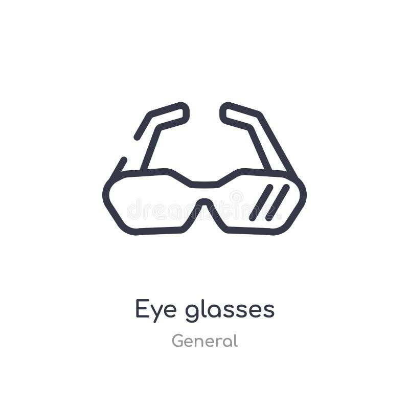 Augenglas-Entwurfsikone lokalisierte Linie Vektorillustration von der allgemeinen Sammlung editable Haarstrichaugen-Glasikone an stock abbildung