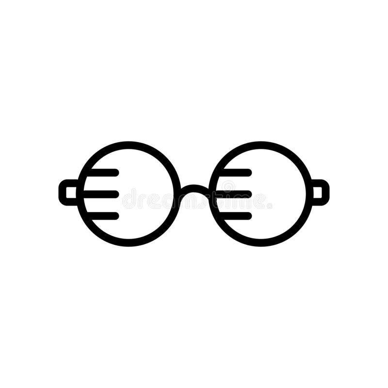 Augenglas-Ikonenvektor lokalisiert auf weißem Hintergrund, Auge glasse lizenzfreie abbildung