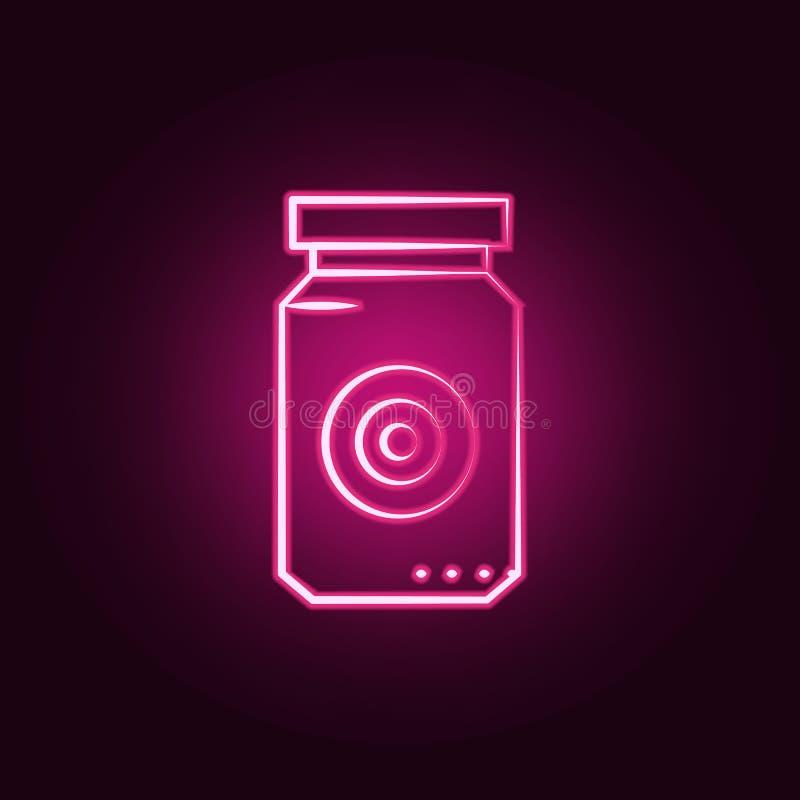 Augenglas-Neonikone Elemente des wütenden Wissenschaftssatzes Einfache Ikone für Website, Webdesign, mobiler App, Informationsgra vektor abbildung