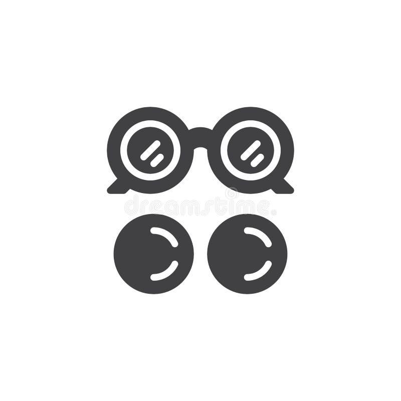 Augenglas- und Augenlinsenvektorikone stock abbildung