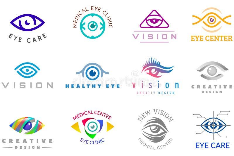 Augenlogovektoraugapfel-Ikonenaugen schauen Vision und Wimperfirmenzeichen der Optiküberwachung der medizinischen Behandlung firm lizenzfreie abbildung