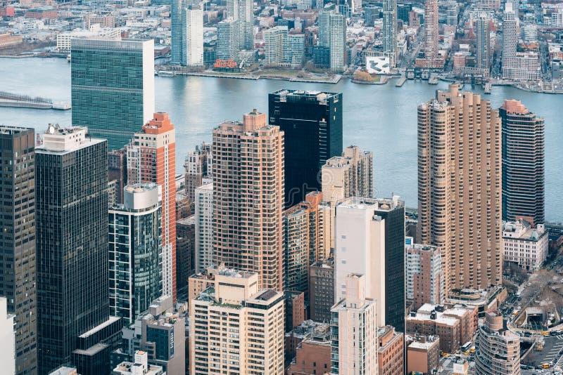 Augenluftstadtbildansicht eines Vogels von Midtown Manhattan, New York City stockbilder