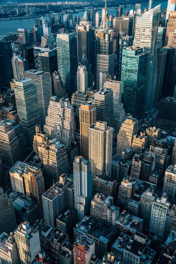 Augenluftstadtbildansicht eines Vogels von Midtown Manhattan, New York City lizenzfreie stockbilder