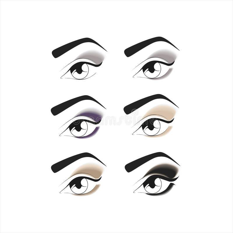 augenschminke Schöne Augen-Retro Art-Make-up lizenzfreie abbildung