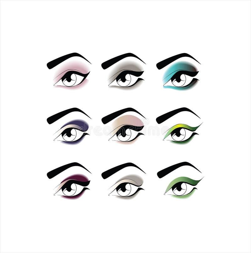 augenschminke Schöne Augen-Retro Art-Make-up stock abbildung