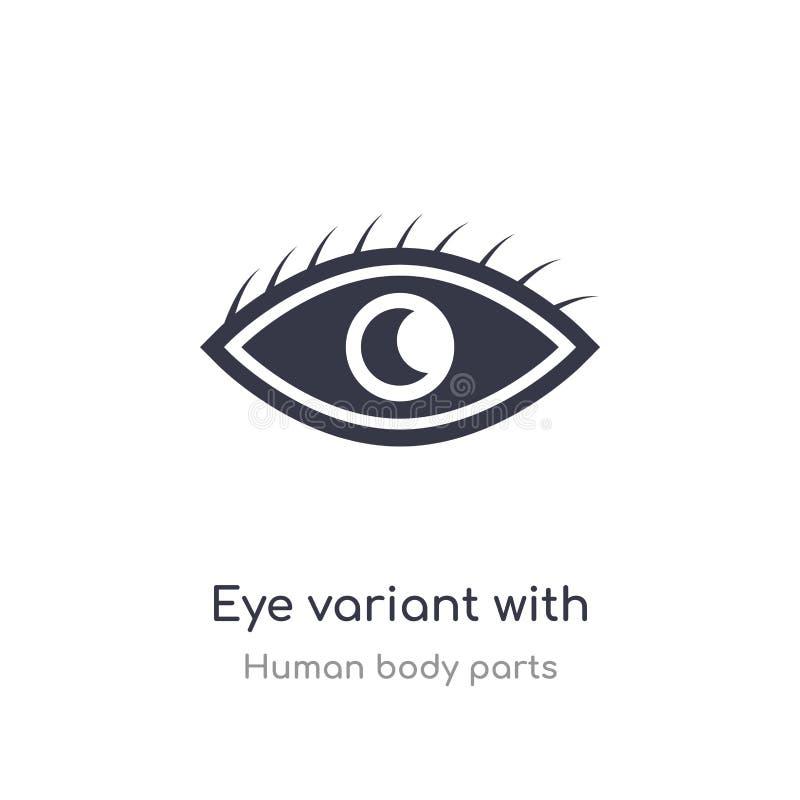 Augenvariante mit vergrößerter Schülerentwurfsikone lokalisierte Linie Vektorillustration von der menschlichen K?rperteilsammlung vektor abbildung