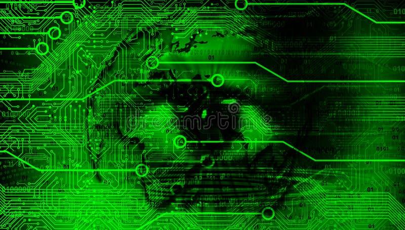 Augenvision Technologie-Geschäfts-Fahnen-Hintergrund Verbundene Technologie-Weltkugel Google Auch im corel abgehobenen Betrag stock abbildung