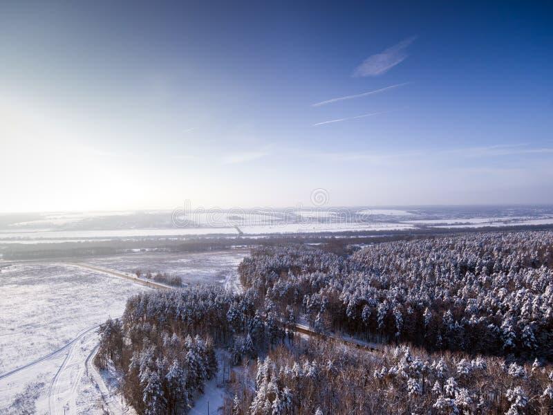 Augenvogelperspektive des Vogels zur Straße durch Winterwaldgefrorenen Fluss auf Hintergrund lizenzfreie stockbilder