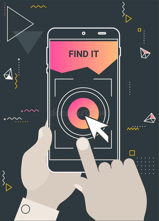 A augmenté la navigation de réalité et voyage concept mobile d'appli illustration de vecteur