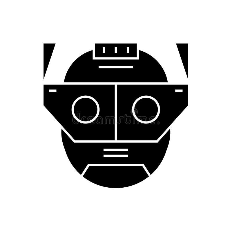 Augmentacji pojęcia kierownicza czarna wektorowa ikona Augmentacji kierownicza płaska ilustracja, znak ilustracji