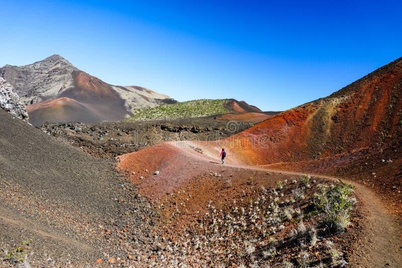 Augmentant dans le désert coloré du parc national de Haleakala, Maui, Hawaï photographie stock libre de droits