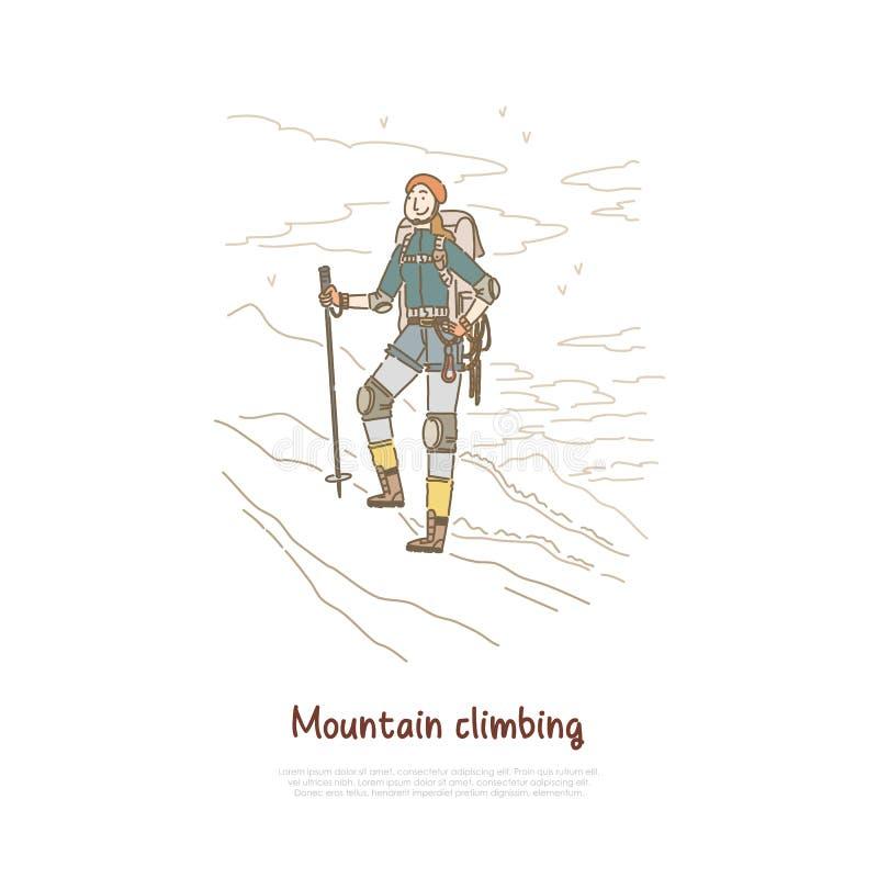 Augmentant, hiver de montagne s'élevant, randonneur féminin avec le calibre professionnel de bannière d'équipement d'alpinisme illustration de vecteur