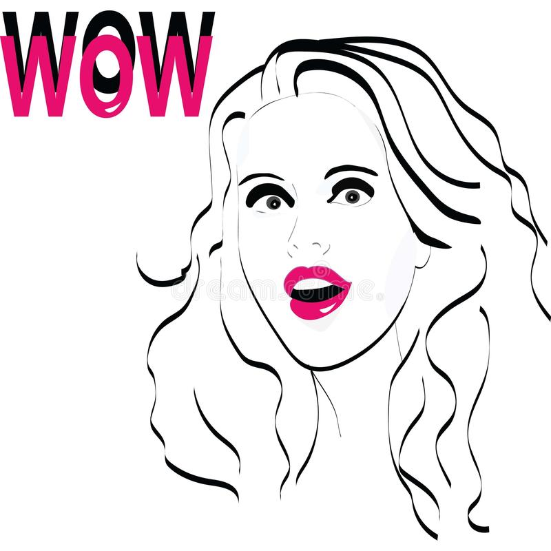 Augmentation d'illustration de fille de wow vos bénéfices image stock
