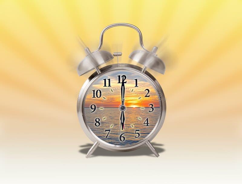 Augmentation de début de la matinée conceptuelle avec le lever de soleil à l'intérieur d'un réveil analogue avec le rayon de sole illustration de vecteur