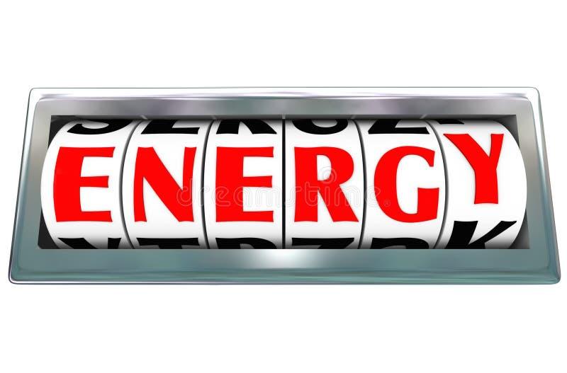 Augmentation de puissance de carburant d'odomètre de Word d'énergie illustration stock