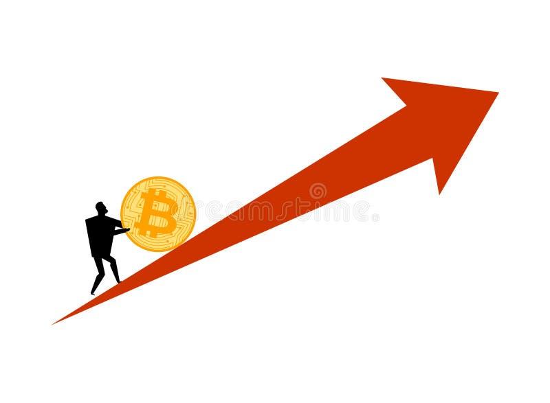 Augmentation des prix de Bitcoin L'homme d'affaires pousse le btc de pi?ce de monnaie Hausse du prix de Cryptocurrency Concept d' illustration de vecteur