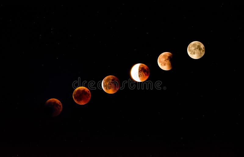 Augmentation et éclipse de lune image stock