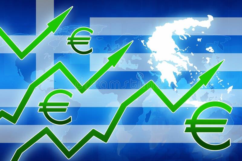 Augmentation financière arrière-plan d'actualités de concept de symbole monétaire de flèches de vert de la Grèce à l'euro illustration stock