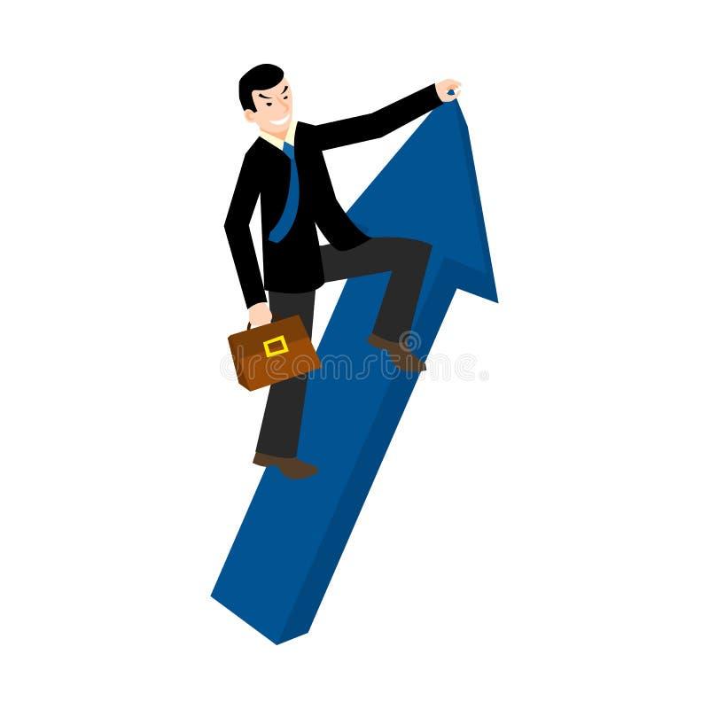 Augmentation vers le haut Homme d'affaires tenant un signe de flèche illustration libre de droits