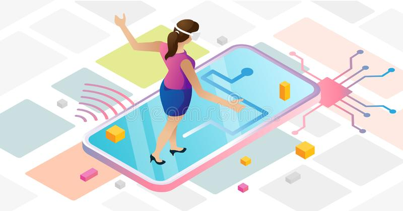 Augmented reality in abstract urban cyberspace with female using VR goggles vector illustration