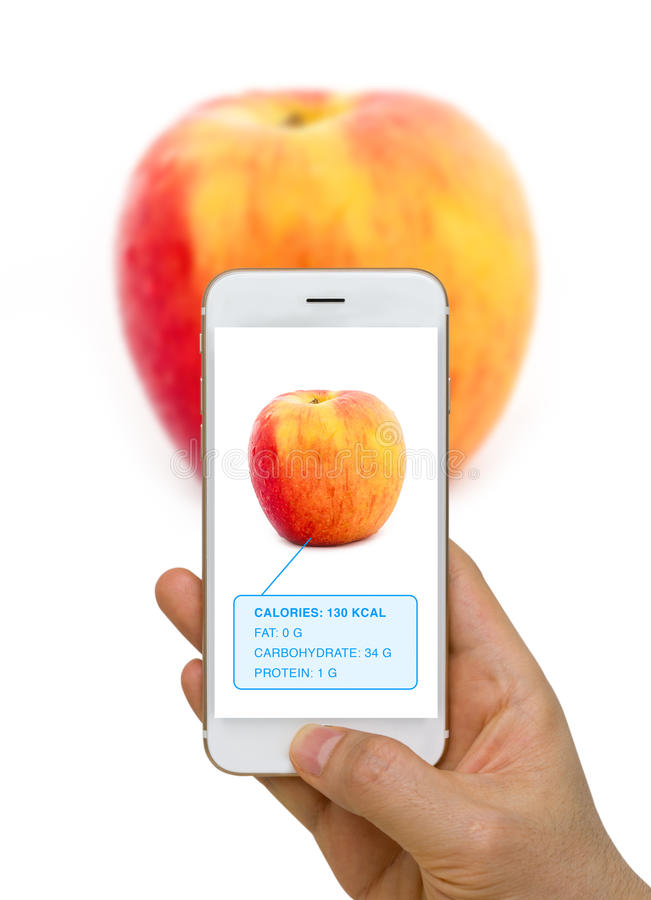 Augmented Reality or AR App Showing Nutrition Information of Foo. Smart device screen showing food, apple, nutrition information using augmented reality or AR