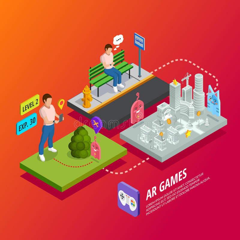 Augmented Reality AR Games Isometric Poster vector illustration