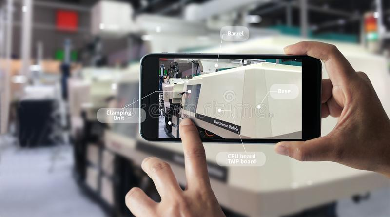 Augmented reality concept. AR. Industrial 4.0 stock photo