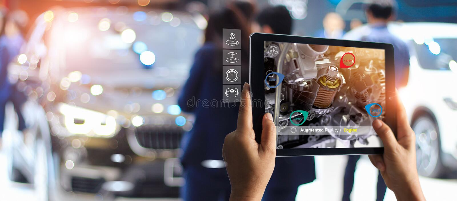 Augmented reality concept. AR. Industrial 4.0 , Hand of engineer holding tablet using virtual AR stock photo