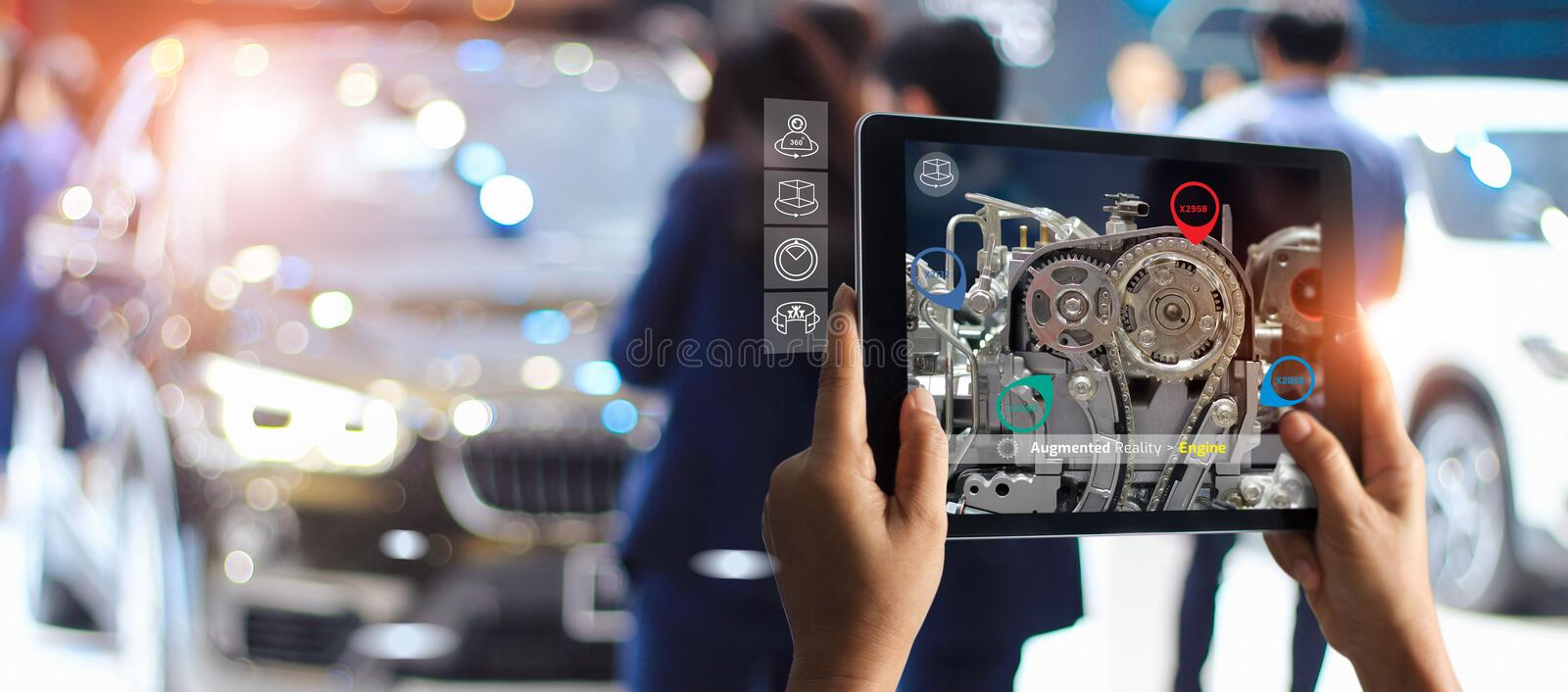 Augmented reality concept. AR. Industrial 4.0 , Hand of engineer holding tablet using virtual AR service stock image