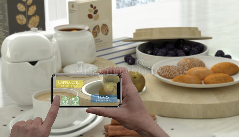 Augmented reality concept. Hand holding digital tablet smart phone use AR application to check information of calories in healthy. Breakfast stock illustration