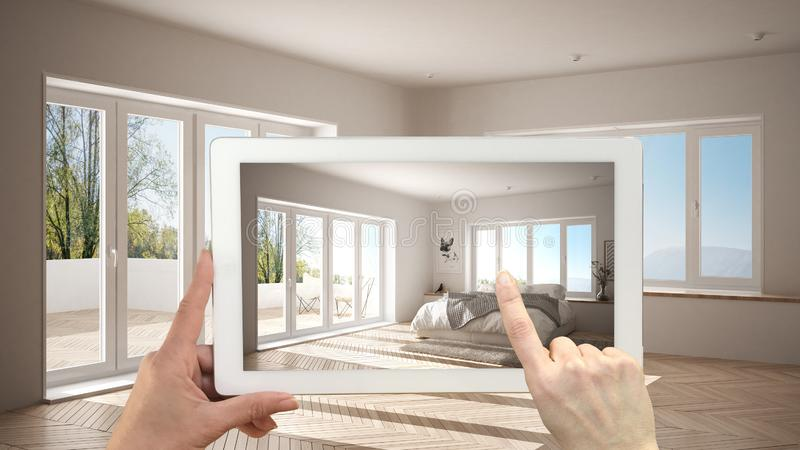 Augmented reality concept. Hand holding tablet with AR application used to simulate furniture and design products in empty. Interior with parquet floor, modern vector illustration