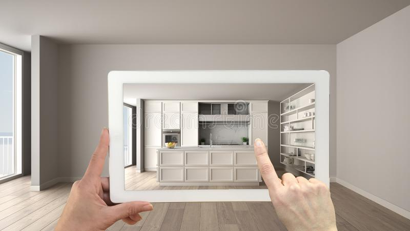 Augmented reality concept. Hand holding tablet with AR application used to simulate furniture and design products in empty royalty free stock image