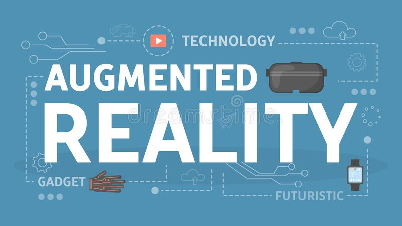 Augmented reality concept. Idea of modern technology. And virtual reality. Digital device for VR. Vector isometric illustration stock illustration