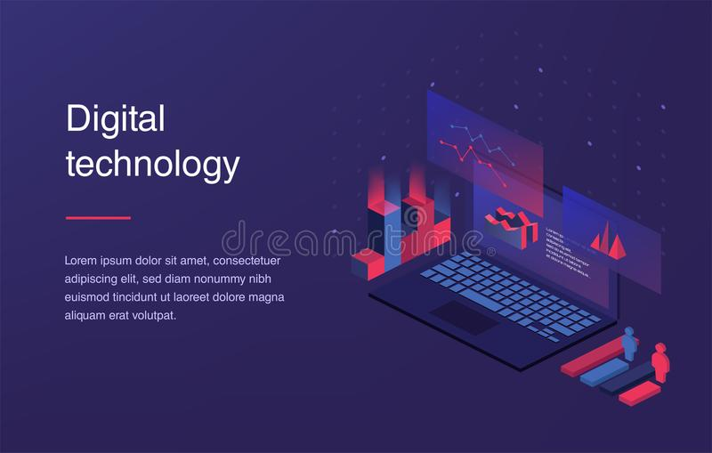 Augmented reality concept. Smart city technology. Landing page template. Web banner with laptop and currency. Isometric. Gradient style. Home page concept. UI royalty free illustration