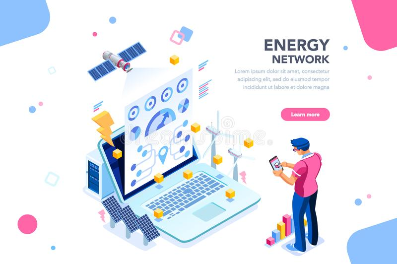 Energy Network Web Page Banner. Augmented reality connection and accounting of energy station. Future, futuristic chart of energy visualization on application royalty free illustration