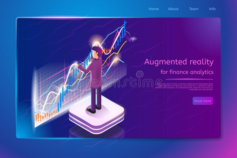 Financial Analytics Service Vector Web Banner stock illustration