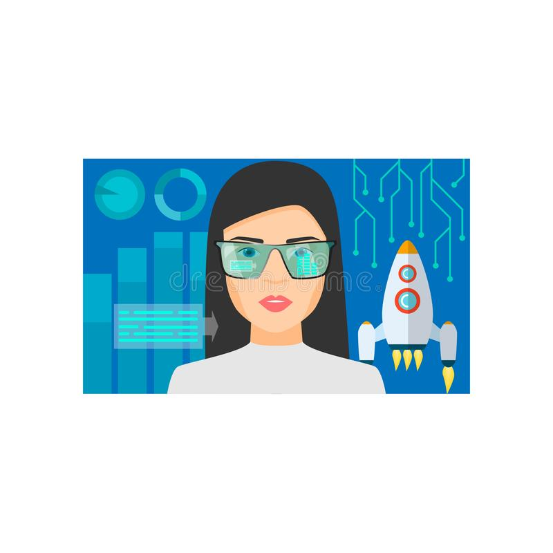 Augmented reality glasses use for space research technology royalty free illustration