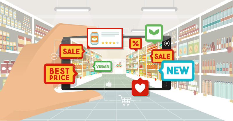 Augmented reality and grocery shopping vector illustration