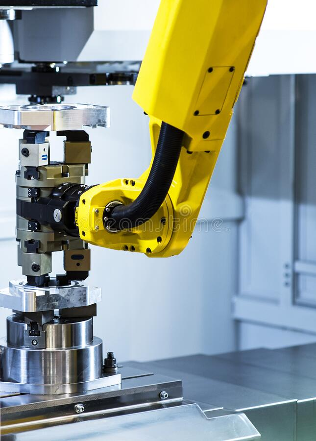 Augmented reality for industry concept. Robotic and Automation system control application on automate robot arm in smart. Manufacturing background stock image