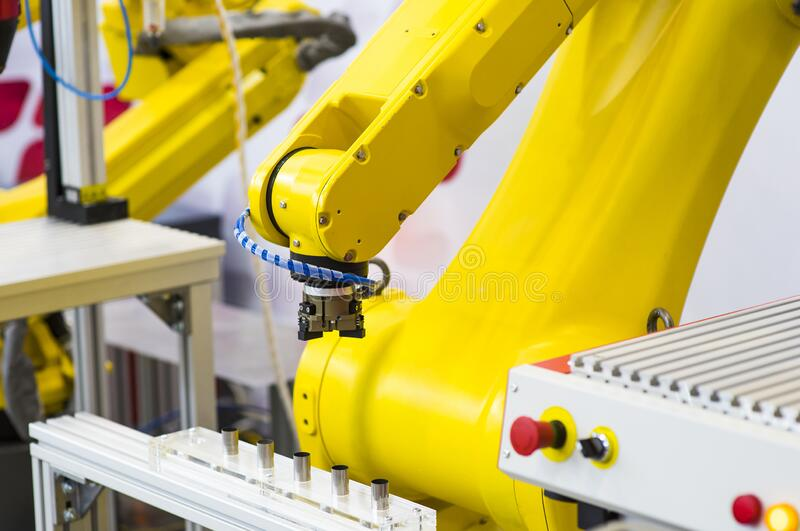 Augmented reality for industry concept. Robotic and Automation system control application on automate robot arm in smart. Manufacturing background stock images
