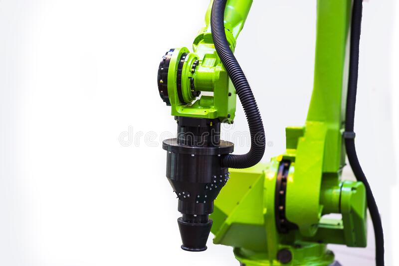 Augmented reality for industry concept. Robotic and Automation system control application on automate robot arm in white. Background stock photos