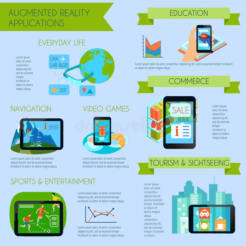 Augmented Reality Infographic Set stock illustration