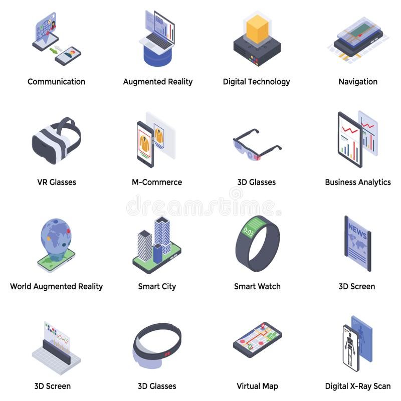 Augmented Reality Isometric Icons stock illustration