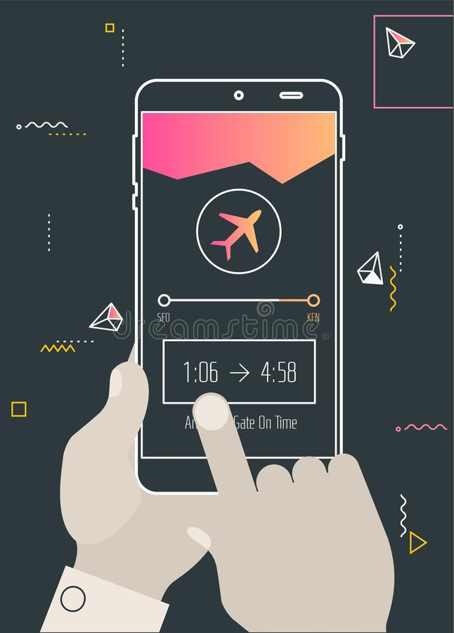 Augmented reality navigation and travel mobile app concept. Augmented reality mobile app concept, for travelling navigation and outdoor activity, mobile stock illustration